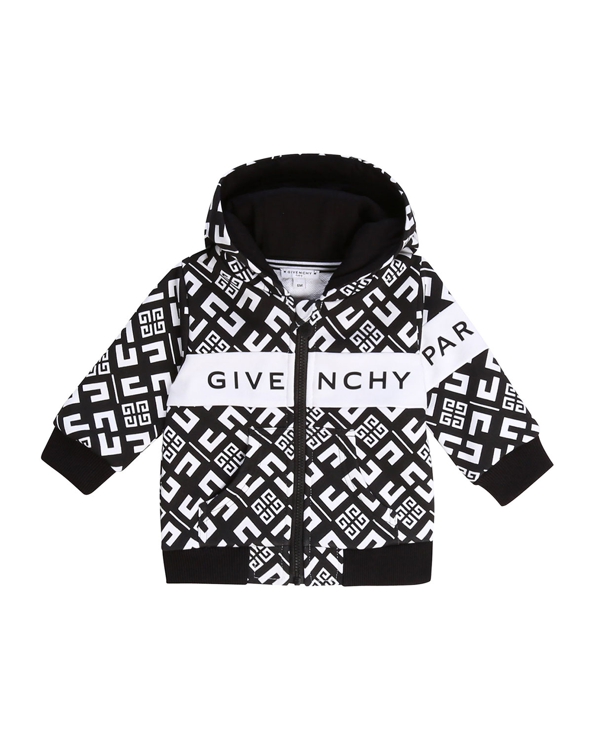 Givenchy Boy's 4G Zip-Front Hooded Logo Cardigan, Size 2-3