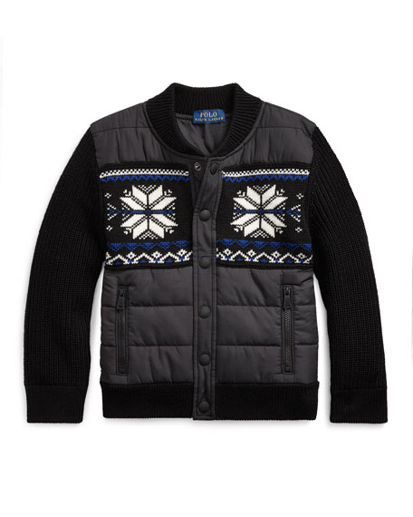 Ralph Lauren Childrenswear Boy's Merino Wool Hybrid Sweater Jacket, Size 2-4