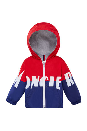 Moncler Kruth Two-Tone Logo Hooded Jacket, Size 12M-3