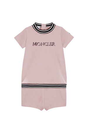 Moncler Girl's Two-Piece Stretch Cotton Sweater w/ Ripstop Trim, Size 12M-3