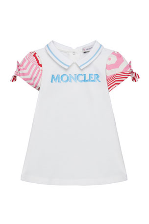 Moncler Girl's Logo Contrast Sleeves Collared Dress, Size 12M-3