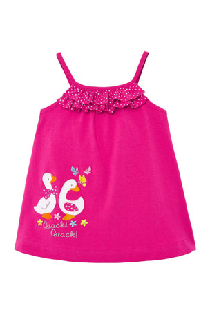 Mayoral Girl's Ducks Applique Ruffle-Trim Sun Dress, Size 6-36 Months
