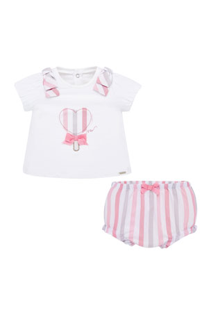 Mayoral Embroidered Heart Lollipop Top w/ Striped Bloomers, Size 2-12 Months