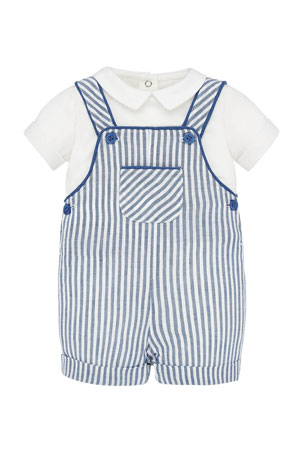 Mayoral Boy's Striped Overall w/ Short-Sleeve Shirt, Size 4-18 Months
