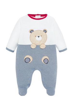 Mayoral Boy's Bear Applique Footie Playsuit, Size 2-12 Months