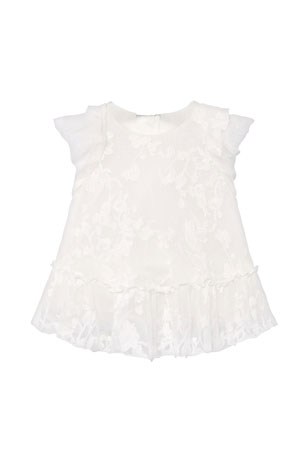 Mayoral Girl's Tonal Embroidered Tulle Dress, Size 6-36 Months