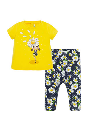 Mayoral Girl's Daisy Girl Top w/ Printed Leggings, Size 6-36 Months