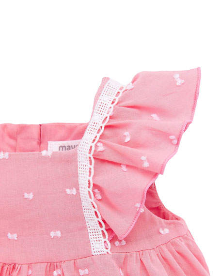 Image 2 of 3: Mayoral Girl's Flutter-Sleeve Swiss Dot Dress w/ Bloomers, Size 4-18 Months