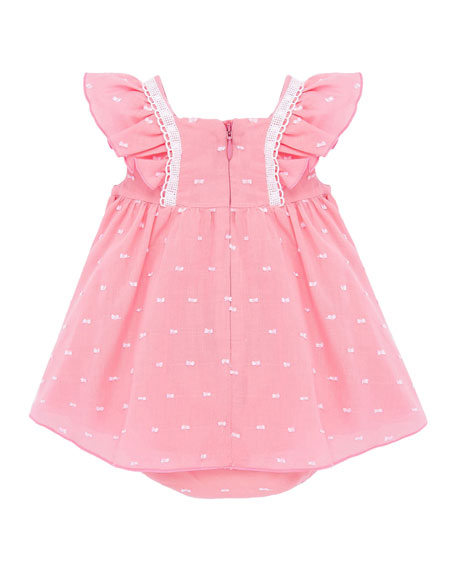 Image 3 of 3: Mayoral Girl's Flutter-Sleeve Swiss Dot Dress w/ Bloomers, Size 4-18 Months