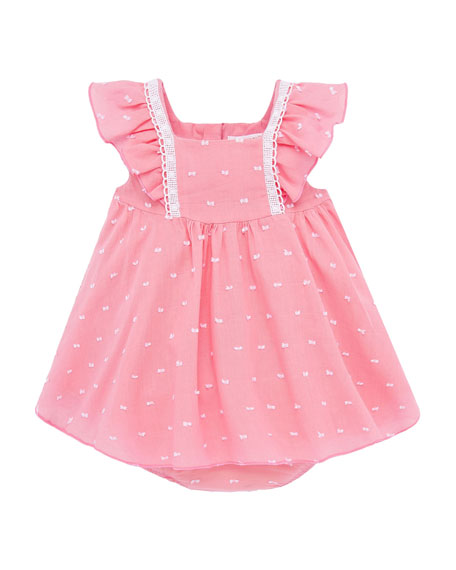 Image 1 of 3: Mayoral Girl's Flutter-Sleeve Swiss Dot Dress w/ Bloomers, Size 4-18 Months