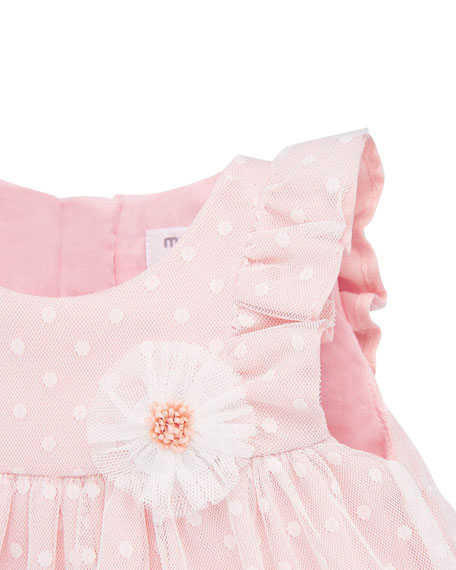 Image 2 of 3: Mayoral Girl's Dotted Tulle Plumeti Dress w/ Bloomers, Size 4-18 Months