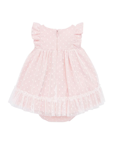 Image 3 of 3: Mayoral Girl's Dotted Tulle Plumeti Dress w/ Bloomers, Size 4-18 Months