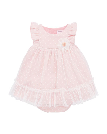 Image 1 of 3: Mayoral Girl's Dotted Tulle Plumeti Dress w/ Bloomers, Size 4-18 Months