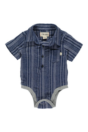 Me & Henry Boy's Striped Woven Bodysuit w/ Children's Book, Size 0-24 Months