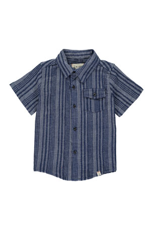Me & Henry Boy's Striped Woven Shirt w/ Children's Book, Size 3T-10