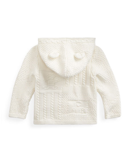 Image 2 of 2: Ralph Lauren Childrenswear Combed Cotton Knit Bear Hooded Cardigan, Size 6-24 Months