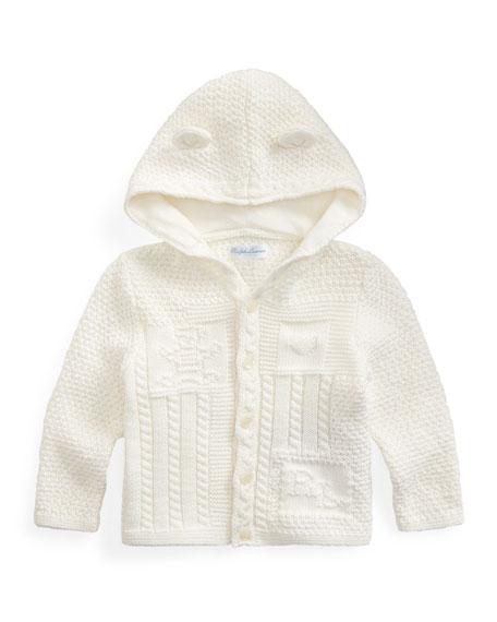 Image 1 of 2: Ralph Lauren Childrenswear Combed Cotton Knit Bear Hooded Cardigan, Size 6-24 Months