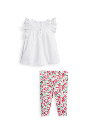 Ruffled Cotton Flat Front Short Pant Casual Wear Girl Clothing 1-8y