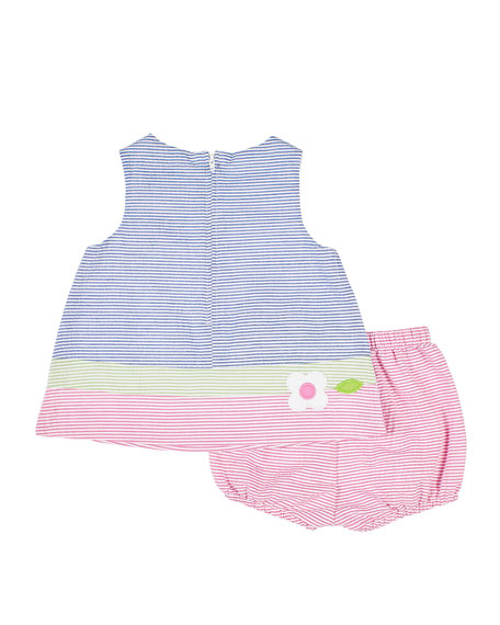 Image 2 of 2: Girl's Multicolor Seersucker Dress w/ Bloomers, Size 3-24 Months