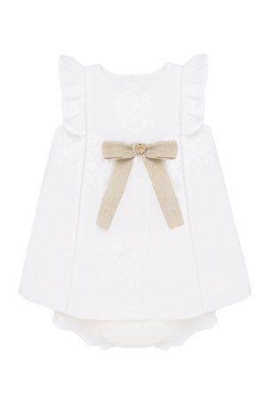 Pili Carrera Embroidered Ruffle Sleeve Dress w/ Matching Bloomers, Size 3-24 Months