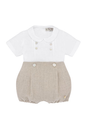 Pili Carrera Collared Shirt w/ Button-on Bubble Shorts, Size 3-24 Months