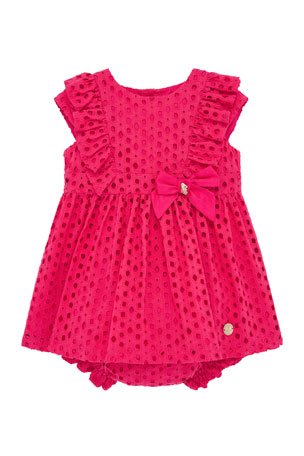 Pili Carrera Girl's Eyelet Ruffle Trim Dress w/ Matching Bloomers, Size 12M-4