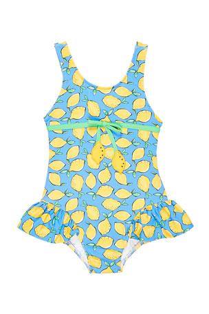 Florence Eiseman Girl's Lemon-Print Ruffle Skirt One-Piece Swimsuit, Size 6-24 Months