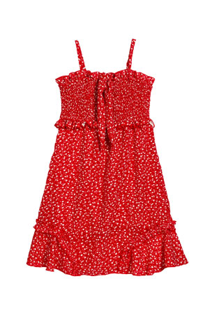 Flowers by Zoe Girl's Floral Ruffle Trim Dress, Size S-XL
