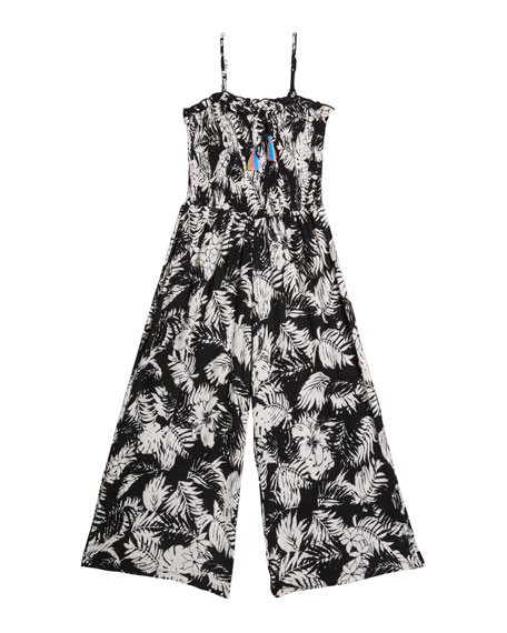 Flowers By Zoe Girl's Leaf Print Sleeveless Jumpsuit, Size S-XL