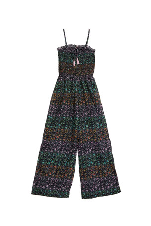 Flowers by Zoe Sleeveless Floral-Print Jumpsuit, Size S-XL