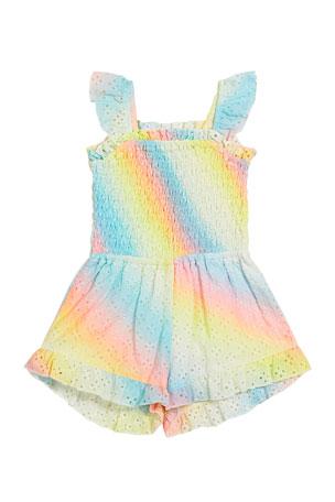 Flowers by Zoe Girl's Eyelet Rainbow Sprayed Smocked Romper, Size S-XL