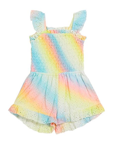 Flowers By Zoe Girl's Eyelet Rainbow Sprayed Smocked Romper, Size S-XL