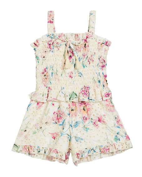 Flowers By Zoe Girl's Floral Eyelet Smocked Romper, Size S-XL