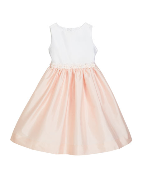 Susanne Lively Girl's Two-Tone Sleeveless Dress w/ Floral Trim, Size 4-6X