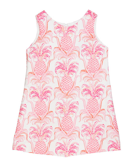 Susanne Lively Girl's Pineapple Sleeveless A-Line Dress, Size 4-6X