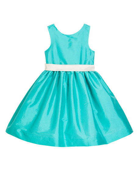 Susanne Lively Girl's Sleeveless Taffeta Dress w/ Sash, Size 4-6X