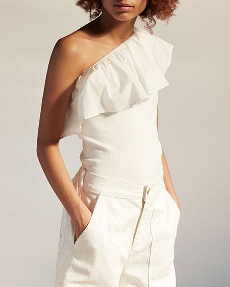 Molo Girl's Alyna Wide Leg White Denim Pants, Size 6-16