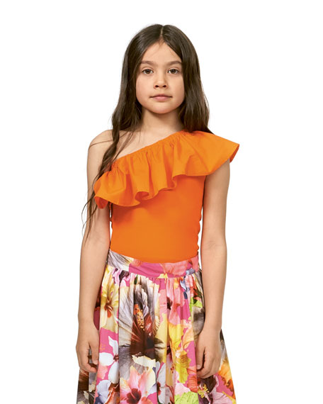 Image 2 of 3: Molo Girl's Rebecca One-Shoulder Frill-Trim Top, Size 5-14