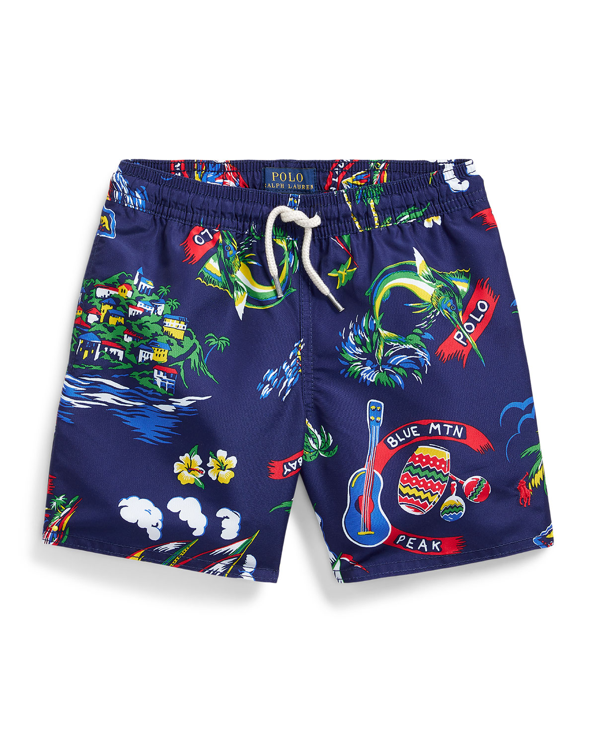 Ralph Lauren Childrenswear Boy's Captiva Tropical Printed Swim Trunks, Size 5-7