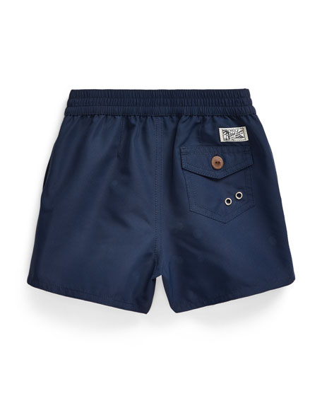 Image 2 of 2: Boy's Captiva Surfer Bear Solid Swim Trunks, Size 9-24 Months