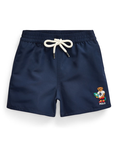 Image 1 of 2: Boy's Captiva Surfer Bear Solid Swim Trunks, Size 9-24 Months