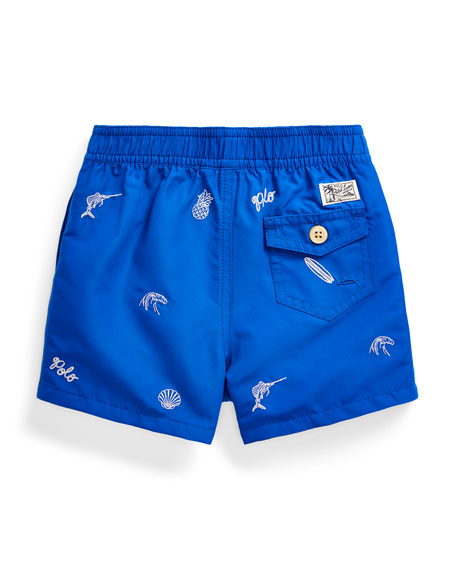 Image 2 of 2: Boy's Tropical Traveler Embroidered Swim Trunks, Size 9-24 Months