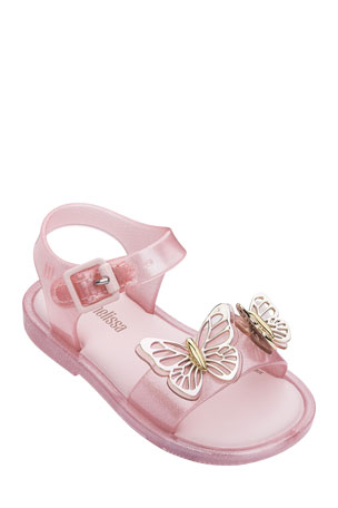 New Cute Baby Infant Toddler Butterflies Silver Sandals Shoes Sz 1 3 5 6