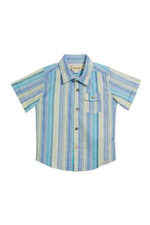 Me & Henry Boy's Striped Woven Shirt w/ Children's Book, Size 3T-7