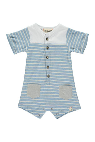 Me & Henry Breton Striped Shortall w/ Children's Book, Size 0-24 Months