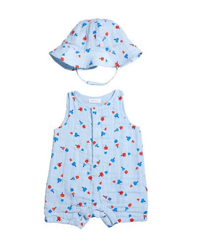 Boy's Astropops Sleeveless Muslin Shortall w/ Sun Hat  Size 3-24 Months