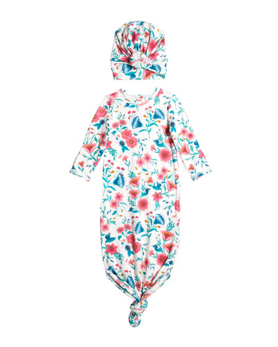 Girl's Vintage Floral Knotted Gown w/ Head Wrap  Size 0-3 Months