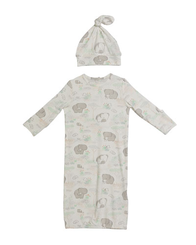 Elephant Gown w/ Matching Hat  Size 0-3 Months