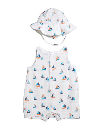 Boy's Simple Boats Muslin Sleeveless Shortall w/ Sun Hat  Size 3-24 Months