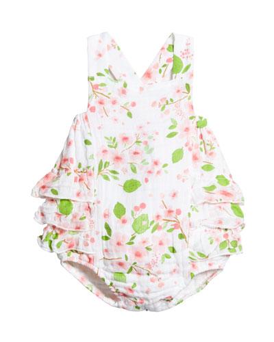 Girl's Cherry Blossom Muslin Ruffle-Trim Romper  Size 0-18 Months